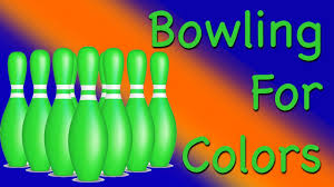 learning colors bowling for blue green and orange colours youtube