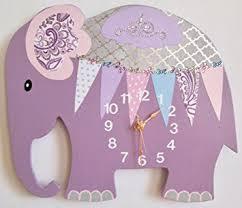 amazon com nursery wall clock nursery elephant clock purple