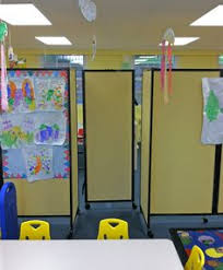 Daycare Room Dividers - daycare learning center uses portable walls to divide space