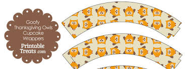 goofy thanksgiving owls cupcake wrappers printable treats