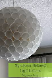 diy a statement light fixture with styrofoam cups delighting in