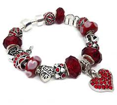 love heart charm bracelet images Silver red valentines mothers day anniversary love heart charms jpg