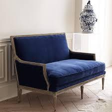 furniture rustic style blue velvet loveseat