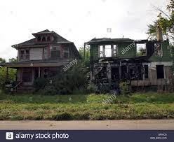 burnt out and abandoned homes in detroit michigan usa stock