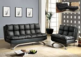 leather futon sofa bed u0026 chair set comfy pillow top