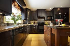 dark kitchen cabinets with backsplash model information about