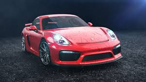 porsche pink porsche cayman gt4 car rendering animation with rain and waterdrops