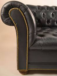dark navy tufted leather chesterfield with brass stud trim at 1stdibs