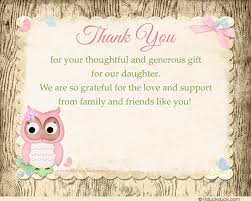 baby shower thank you cards baby shower thank you card verse ideas pink owl