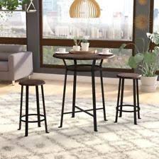 round 3pc metal pub set with wood top dark mahogany 1 table 2