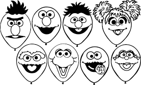 sesame street balloons coloring page wecoloringpage