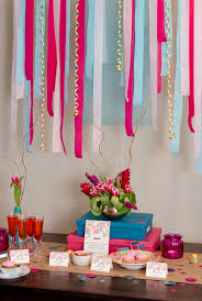 ideas for bridal shower blowout fuchsia hot pink crepe paper streamer party decorations