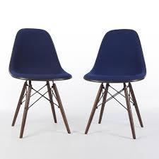 blue herman miller vintage eames upholstered dsw side shell chairs