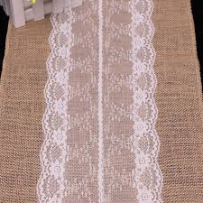 Burlap Lace Table Runner 10pieces Lot 30cm 275cm Vintage Burlap Lace Hessian Table Runner
