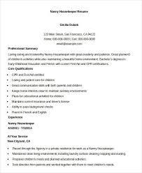 nanny caregiver resume examples example housekeeping resume