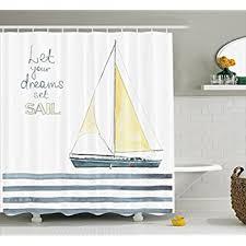 Sailboat Shower Curtains Sailboat Nautical Decor Shower Curtain Set By