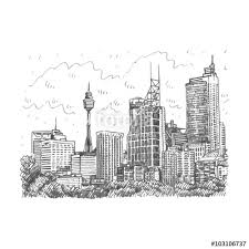 sydney tower and skyscrapers view of sydney australia vector
