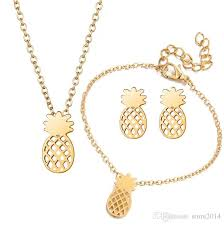 best necklace sets images Best new fashion hollow pineapple jewelry sets gold and silver jpg
