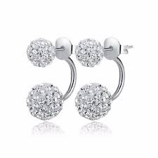 2016 new fashion shambhala double sided sythetic crystal ball stud