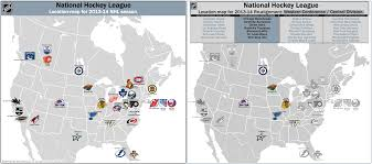 Map Of The Stars Los Angeles by Nhl 2013 14 Realignment Location Maps With The 4 New Divisions