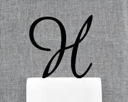 h cake topper monogram cake topper etsy