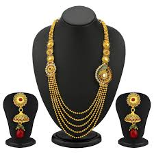necklace set image images Buy sukkhi one sided 5 strings gold plated antique necklace set jpg