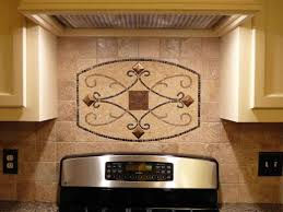 interior travertine tile backsplash interesting pattern stove