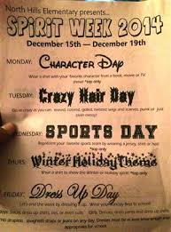 spirit week winter holiday theme click for more info