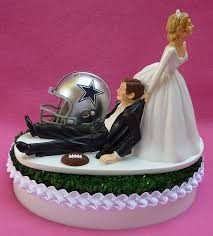 wedding cake topper dallas cowboys football themed sports turf