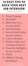 How To Make A Resume For A Job Interview by Checklist 10 Easy Tips To Rock Your Next Job Interview Classy
