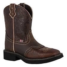 justin ladies embossed brown flower gypsy in western arena boots