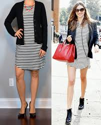 statement necklace with dress images Outfit post striped dress black cardigan black pumps red png