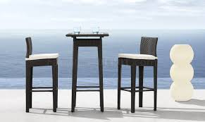 Zuo Modern Bar Table Black Weave Modern 3pc Outdoor Bar Set W Clear Glass Top Table
