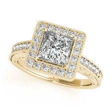 gold square rings images Yellow gold engagement ring bold square halo pretty princess cut jpg