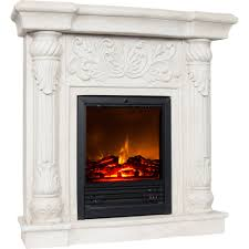 White Electric Fireplace Polyfiber Electric Fireplace With 41