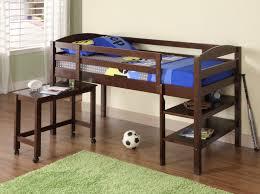 Low Loft Bunk Bed Brown Walnut Wood Low Loft Bed With Wheeled Desk Of Endearing Loft