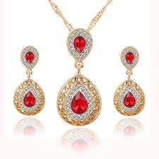 earring necklace set images Sharp crystal pendant earring necklace set jpg