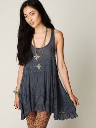 free people voile and lace trapeze slip in blue lyst