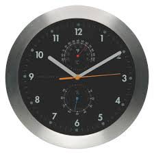 Neat Clocks by Weather Black Wall Clock With Thermometer Buy Now At Habitat Uk