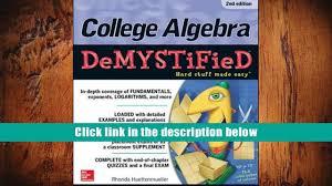 pdf college algebra demystified 2nd edition rhonda