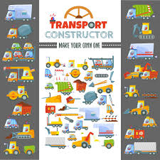 game design your own car puzzle game concept to make various vehicles stock vector