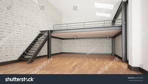 3d interior rendering industrial mezzanine space stock