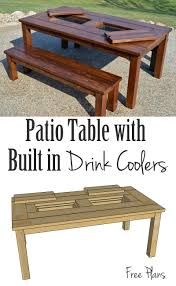 remodelaholic building plans patio table with built in drink