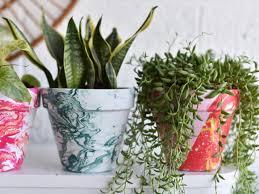 diy bright marbled pots using nail polish hgtv u0027s decorating