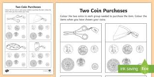 two coin purchase activity sheet maths coins money shop