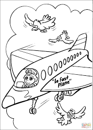 baby miss piggy pilots concorde airliner coloring page free