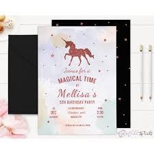 print ready rose gold unicorn 5th birthday invitation