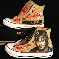 Buy a Hand Made The Walking Dead Hand Drawn Daryl Dixon Converse