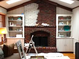 before and after whitewashing the fireplace love your home