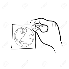 hand drawing freehand sketch hand holding paper sticker with
